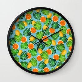 Oranges Lemons Monstera Leaf Teal Wall Clock