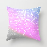 pixel art Throw Pillows featuring Pink Lavender Gray Pixels by WhimsyRomance&Fun
