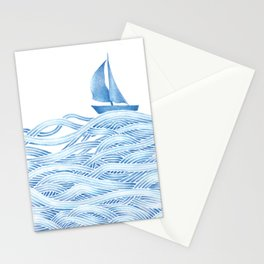 Blue sailboat, watercolor nautical ocean waves sea Stationery Cards