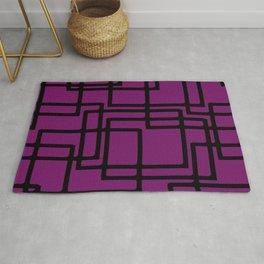 Retro Modern Black Rectangles On Deep Pink Rug