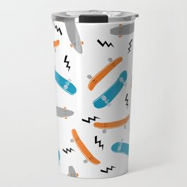 Skateboards orange and blue pattern great decor for nursery kids rooms boys and girls Travel Mug