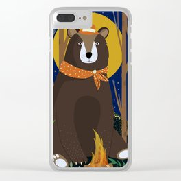 Brown Bear Print Clear iPhone Case