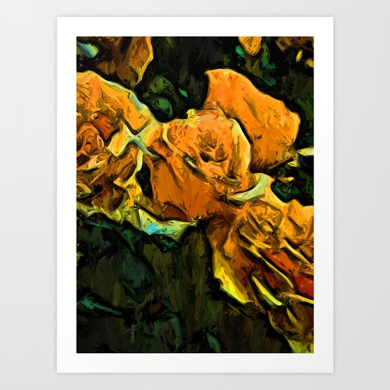Gold Roses with Green Leaves Art Print