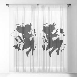 Alice in wonderland falling silhouette (black) Sheer Curtain