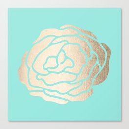 Rose in White Gold Sands on Tropical Sea Blue Canvas Print