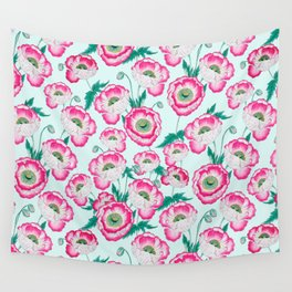Pink Poppy Flowers Wall Tapestry