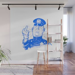 Mad Cop Flipping the Bird Blue Wall Mural