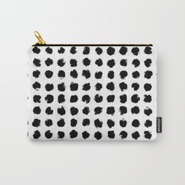 Black and White Minimal Minimalistic Polka Dots Brush Strokes Painting Carry-All Pouch