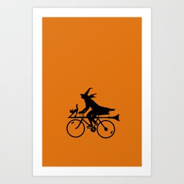Witch on a Bicycle Art Print