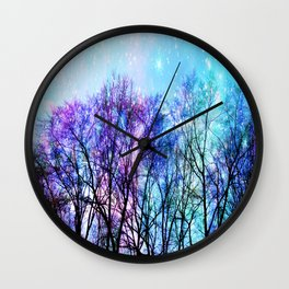 Black Trees Playful Pastels Space Wall Clock