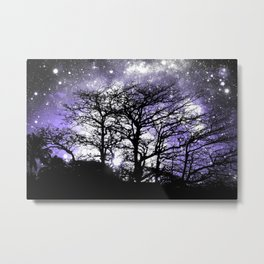 Black Trees Lavender Gray Space Metal Print
