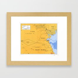 Gulf War Boundaries Map, Saudi Arabia, Iraq, Kuwait (1991) Framed Art Print