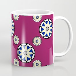Maroon 9-point Flower Pattern Coffee Mug