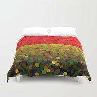 gold glitter Duvet Covers featuring Sparkle Glitter Red Gold by Saundra Myles