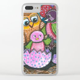 Birth of chick and owl. Little bird Clear iPhone Case