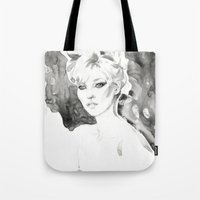 kate moss Tote Bags featuring Moss by Esther Kang