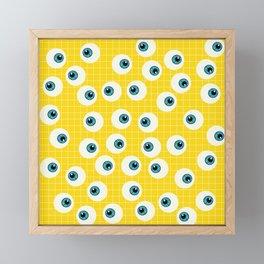 Cute Blue Eyes on Yellow Background Framed Mini Art Print