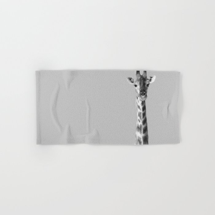 Giraffe Black And White Photography Hand & Bath Towel