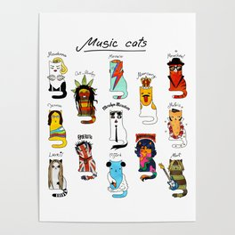 Famous Music Cats – Most Popular Musicians of the World Poster