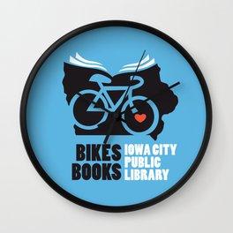 Bikes Books Iowa City Public Library Wall Clock