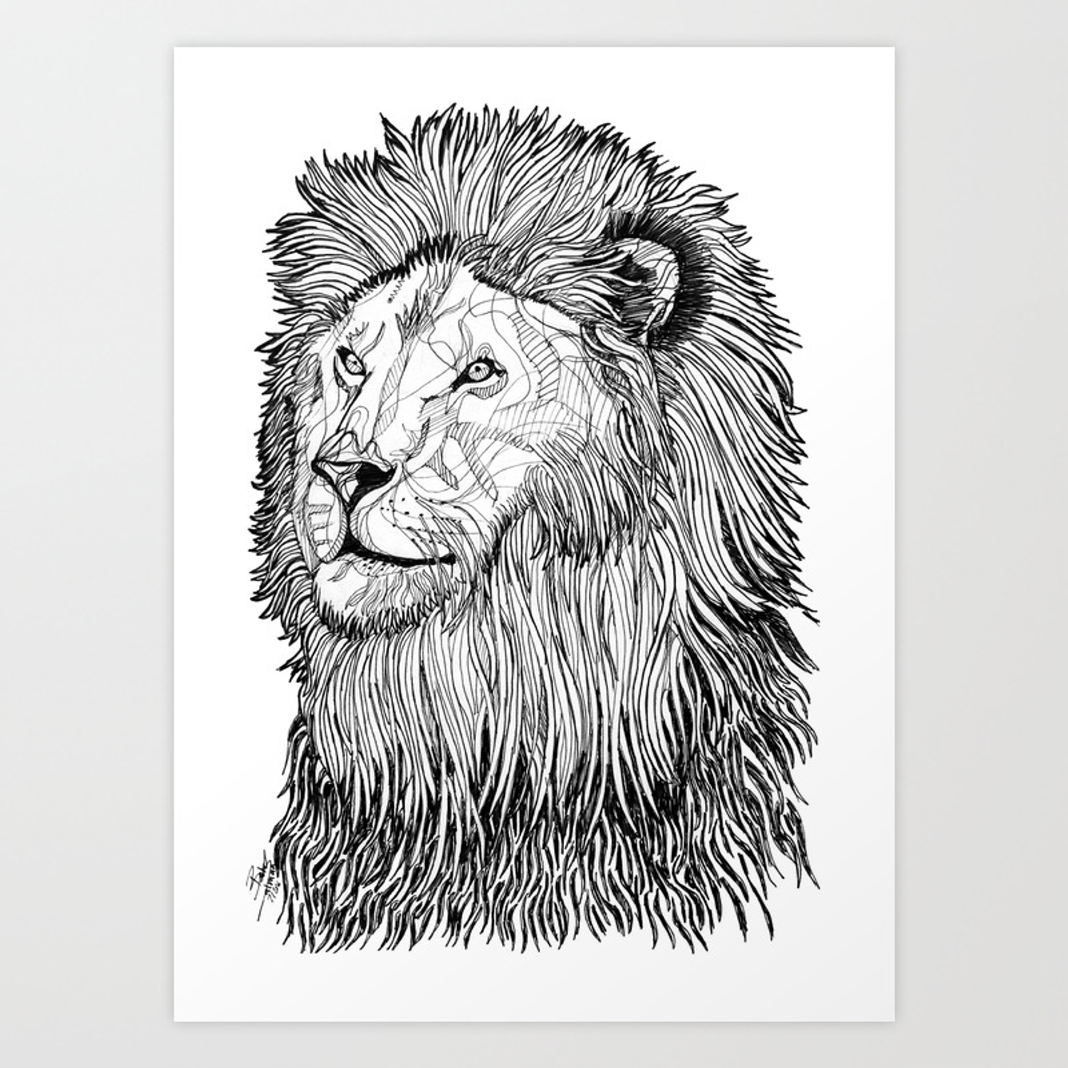 Abstract Lion Line Drawing Black And White Art Print By Betulsalman Society6 Anyone can make use of a lion animal template. abstract lion line drawing black and white art print by betulsalman