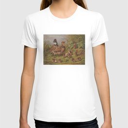Vintage Quails & Their Chicks Illustration (1867) T-shirt