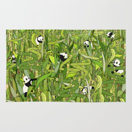 Traveling Pandas in Bamboo Forest Rug