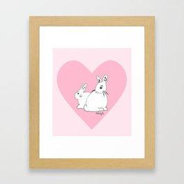 White Rabbits Pink Heart Framed Art Print