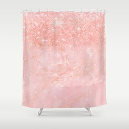 Blush Star Glitter on Marble Shower Curtain