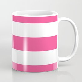 French rose - solid color - white stripes pattern Coffee Mug