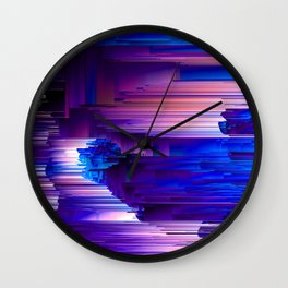 Glitchin' Blues - Abstract Pixel Art Wall Clock