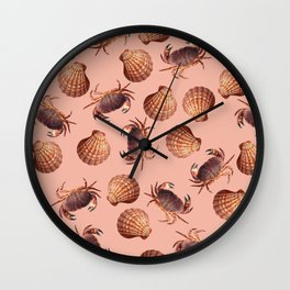 scallop Crab pattern design coral Wall Clock