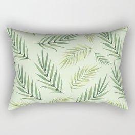 Green Palm Watercolor Leafs Rectangular Pillow