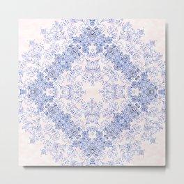 small sarasa floral in blue Metal Print