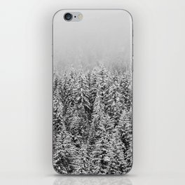 Black and White Snowy trees iPhone Skin