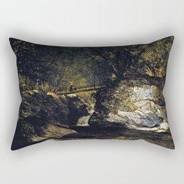 A Study Bash Bish Falls 1856 By David Johnson | Reproduction | Romanticism Landscape Painter Rectangular Pillow