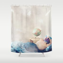 """""""Wanderlust is incurable."""" Shower Curtain"""