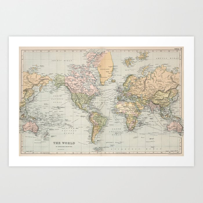 1892 Map Of The World.Vintage Map Of The World 1892 Art Print By Bravuramedia Society6