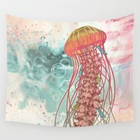 rose Wall Tapestries featuring Jellyfish by Mat Miller