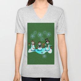Snowman Trio Green Background Christmas Unisex V-Neck