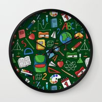 backpack Wall Clocks featuring Back to school by Julia Badeeva