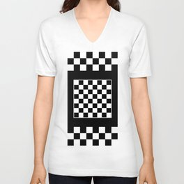 Vintage Chessboard & Checkers - Black & White Unisex V-Neck