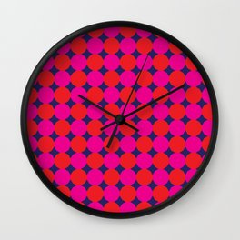 Red and Pink Dodecagons on Blue Wall Clock