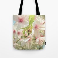 cherry blossom Tote Bags featuring Cherry Blossom by Cassia Beck