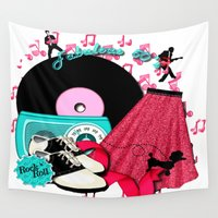 rockabilly Wall Tapestries featuring Rockabilly Rock n Roll by BURPdesigns