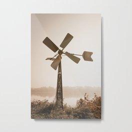 Windmill on a misty autumn morning Metal Print