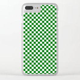 Christmas Green and White Checker Board Pattern Clear iPhone Case