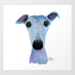 Nosey Dog Whippet Greyhound ' BLUEBELL ' by Shirley MacArthur Art Print