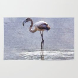 Flamingo Ripples and Reflections Watercolor Rug
