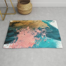 Coral Reef [1]: colorful abstract in blue, teal, gold, and pink Rug